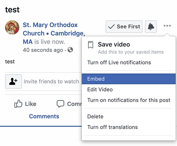 Facebook Live Menu with Embed