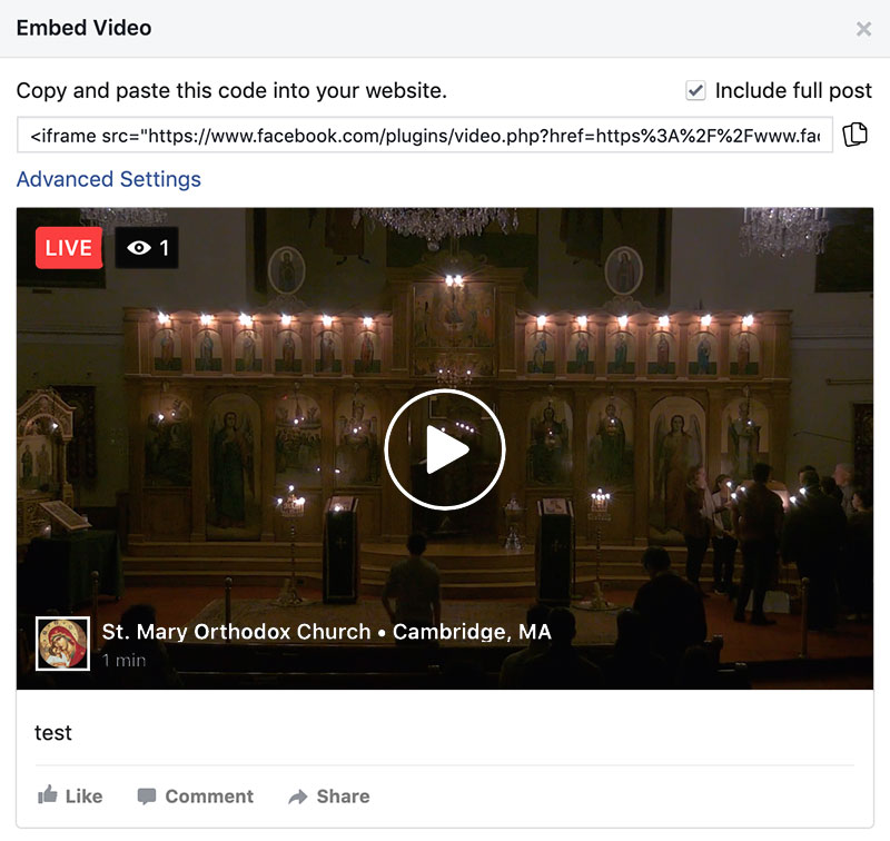 Facebook Live Popup Embed Code