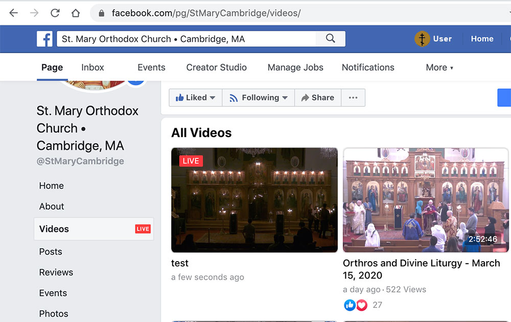 Facebook Live Video Page